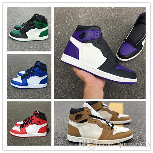 3d9581a8b2e51d Wholesale New 1 I High OG GREEN Pine White PURPLE Court MEN Basketball Shoes  Designer 1s Sneakers Sports Outdoor Trainers SIZE 7 13 Kevin Durant  Basketball ...