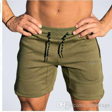efe812accbf Mens Gym Fitness Cotton Shorts Run Jogging Sports Bodybuilding Calf-Length  Training Sweatpants 2018 New Male Workout Short Pants Gyms Men Shorts Men  ...