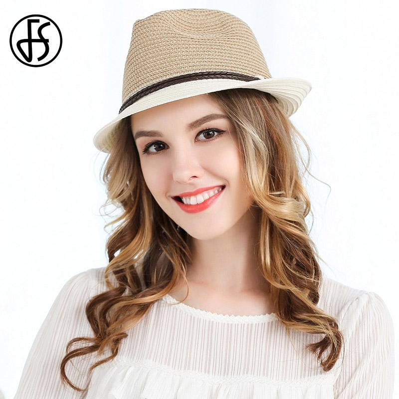 FS Ladies Summer Curl Brim Beach Straw Hats Vintage Panama Fedora For Womens  Sun Hat With Ribbon Fashion Jazz Hat Adjustbale Baby Sun Hat Summer Hats  For ... 5236f66e540