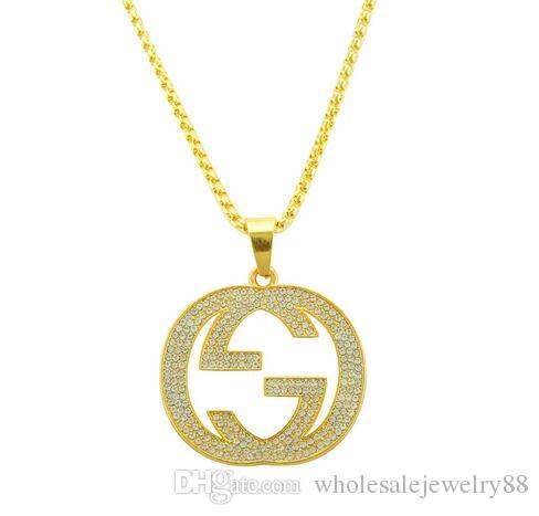 7da72fcf9a9 2019 Rock Styles 14k Gold Letters Necklace Crystal Rhinestone Letters Tag Pendant  Necklace Sweater Chain Men Hip Hop Jewelry Accessories From ...