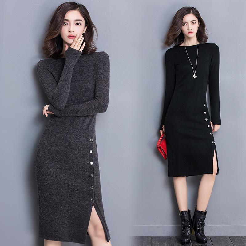 37b9332f8f8cb Elegant Long Sleeve Warm Pure Color Knitted Bodycon Wool Sweater Bottoming  Dress Buy Dress Evening Cocktail Dresses From Mianbao525, $21.71| DHgate.Com