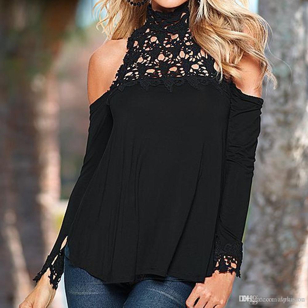5f518ce005e2c Sexy Floral Lace Cold Shoulder Ladies Tops Women Hallow Black Long ...