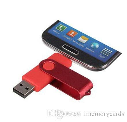 100% real capacity Colorful 4gb 8gb 16gb 32gb OTG USB Swivel USB 2.0 Flash Drives Memory Stick for Android Smartphones Tablets Thumbdrives