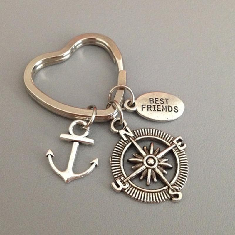 Wholesale Quality Alloy Anchor Keychain Rudder Friendship Key Chains For  Women Men Jewelry Gift Free Shipping