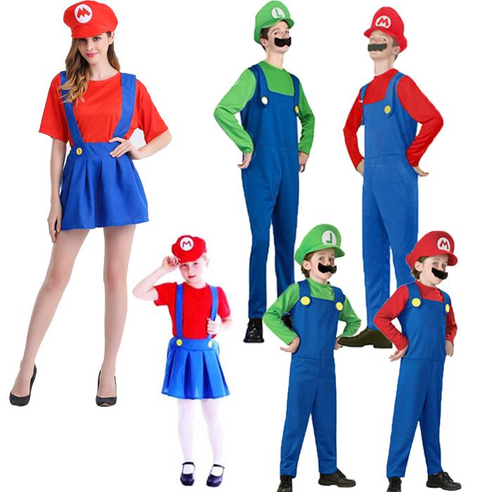 adults and kids super mario bros cosplay costume set children halloween party mario luigi costume for kids gifts halloween costumes for groups of 2