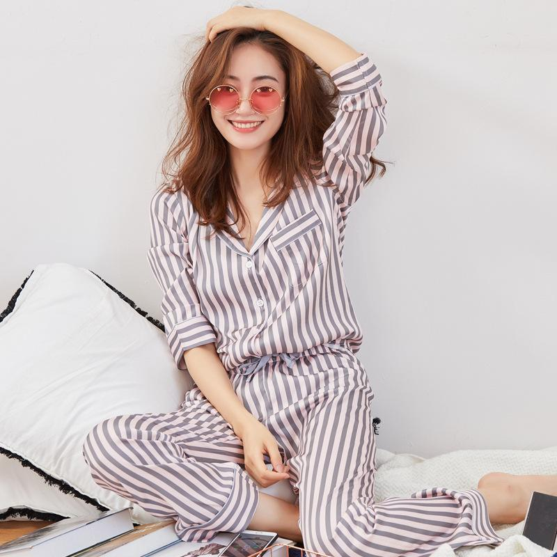 2019 Pink Striped Pajamas Matte Satin Pajama Set Long Sleeve Silk Pajamas  For Women Silk Pyjamas Women Nightwear From Adeir 3f9404087