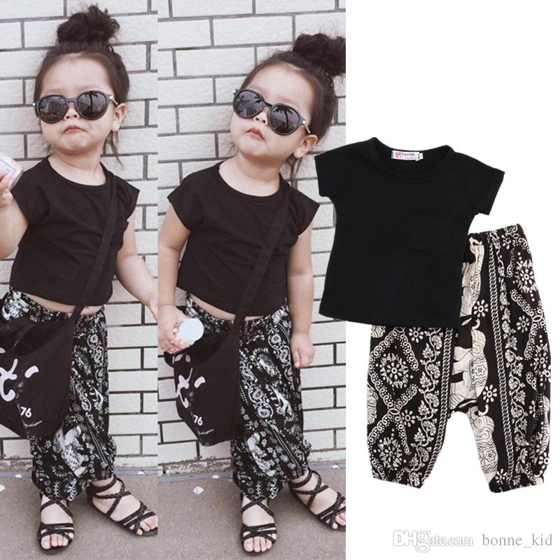 4775ae533 2019 Summer Boho Kid Baby Boys Girls Clothing Black T Shirt ...