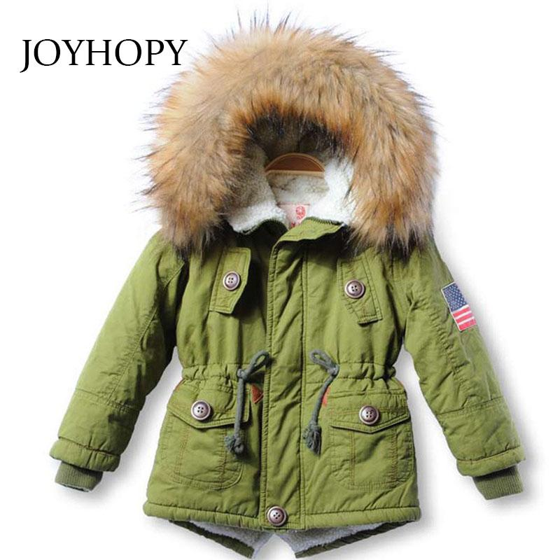 78afbd543d15 Children Jackets Girls Boys Coats Hooded Faux Fur Collar Thick ...