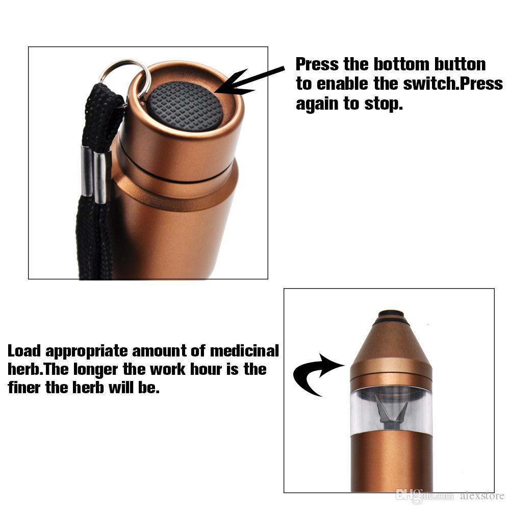 Completamente automatico di alluminio di alluminio elettrico tabacco fumo penna smerigliatrice frantoio fumo sigaretta metallo chopper frese con caricatore USB DHL