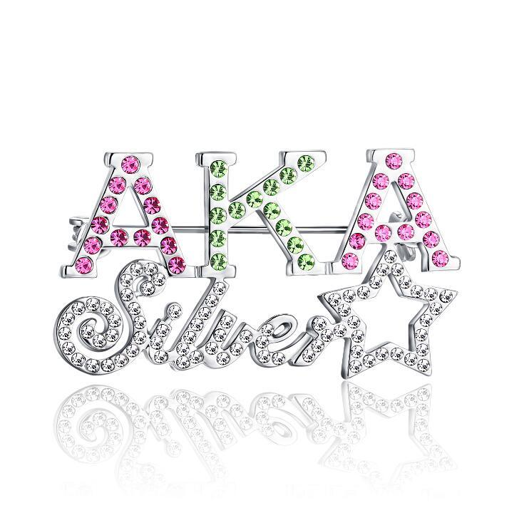 4cef31d48aee7 New Arrivals Color Rhinestone Silver Star AKA Brooch Alpha K Alpha Sorority  Pin Brooches For Women