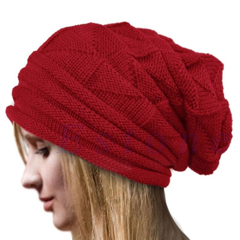 55eb8a6065f24 2019 Hot Knitted Beanie Winter Hat Women Touca Gorro Snow Caps Knit Hat  Skull Chunky Baggy Warm Skullies TKH006 Red From Yvonna