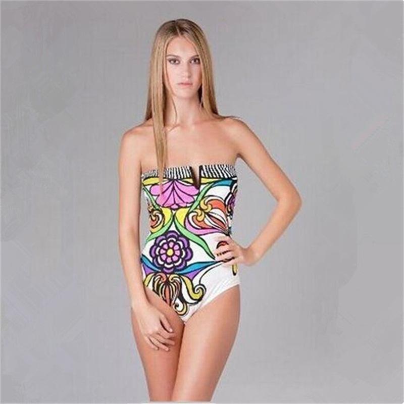 Compre Nueva Tendencia Traje De Baño De Mujer Traje De Cuerpo Completo  Chica Traje De Baño De Una Pieza Sexy Playa Bikini Poliéster Colorido  Leotardo ... 6ee4d20e93e