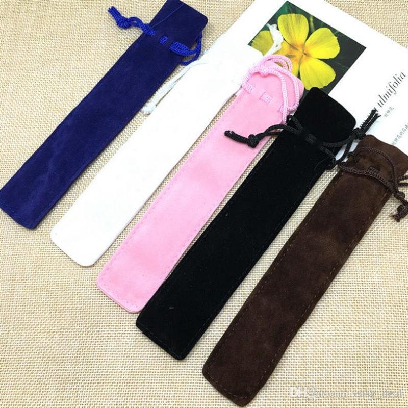 Velvet Pen Pouch Holder Single Pencil Bag Pen Case With Rope For Rollerball /Fountain/Ballpoint Pen fast shipping F20173062