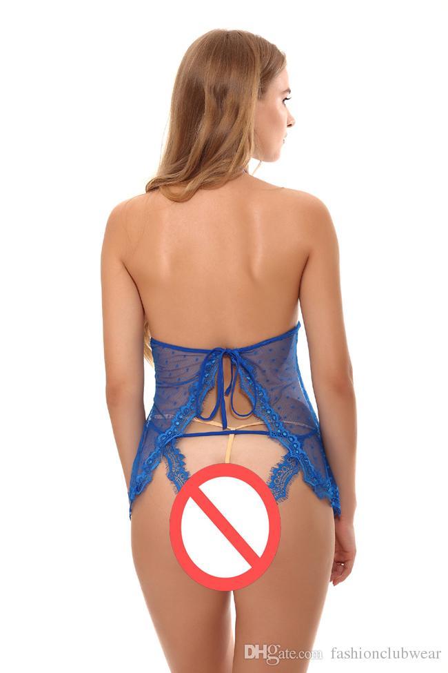 New Arrival Women Lingerie Set Erotic Open Butt Crotch Nightwear Sexy Backless Split Back Sleepwear Pajamas Summer Lace Chemise