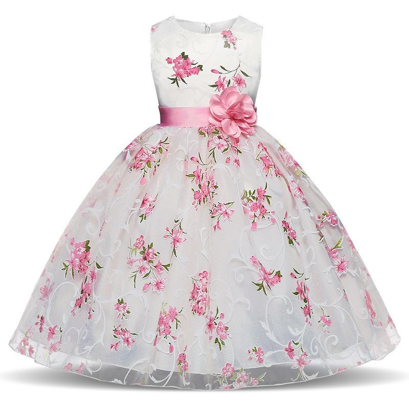 Summer 2018 Elegant Princess Formal Dress Kids Baby School Evening Prom Party Pageant Little Bridesmaid Flower Girl Dress Age 10 Y1891203