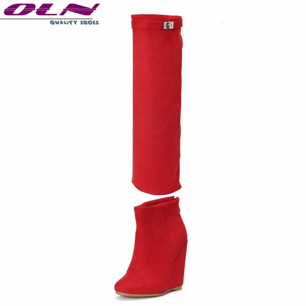 74d2676f535 OLN New Sexy Women Knee High Boots Zip Ankle Super High Wedges Heels Plus  Big Size 3 16 Handmade Quality Two Ways To Wear Shoes Mid Calf Boots Womens  Ankle ...