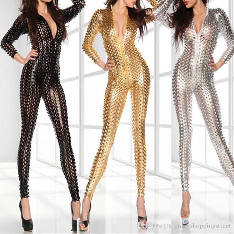 Plus 4XL Mulheres Oco Olhar Molhado Sexy macacão Faux Collants Traje Erótico Látex Bodysuit Catsuit Vinil Fancy Stripper Costume
