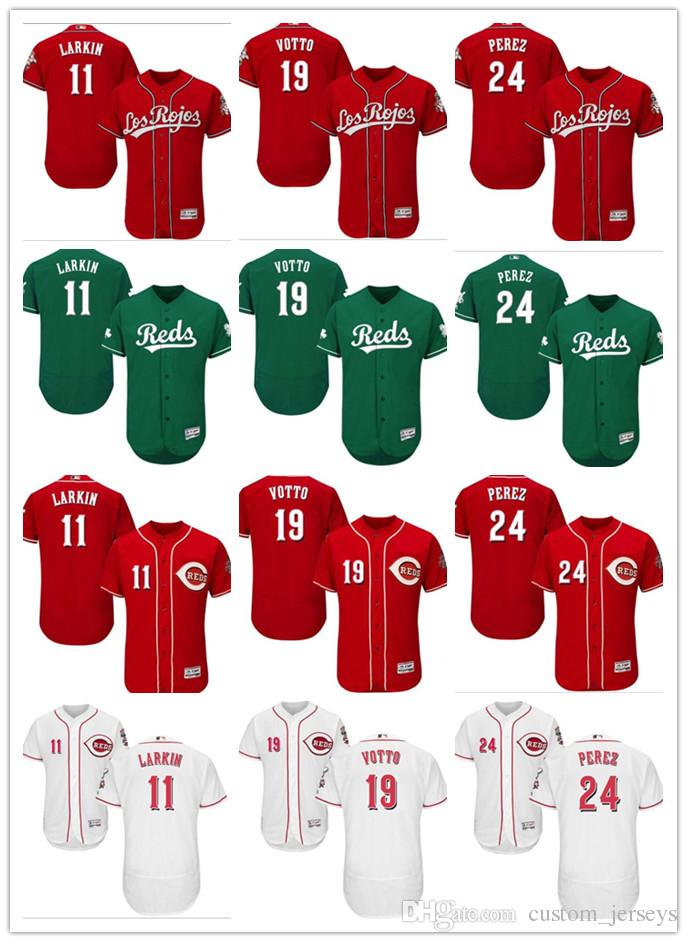 2018 2018 Custom Men Women Youth Majestic Reds Jersey  11 Barry Larkin 19  Joey Votto 24 Tony Perez Home Blue Red Baseball Jerseys From Mesh jersey e8a37e54f