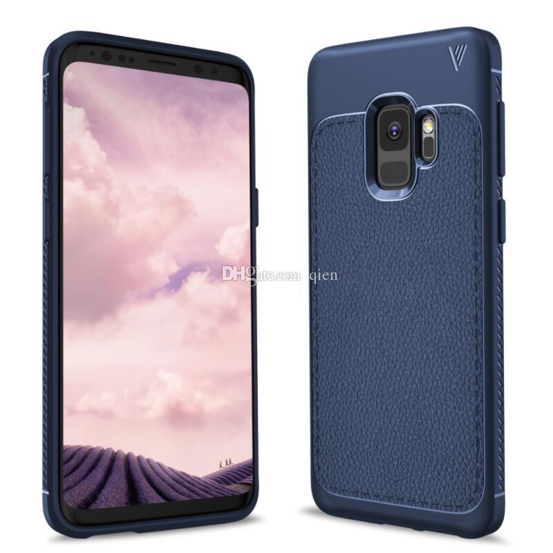 Für Galaxy Samsung S9 Plus Fall Litchi Muster weichen TPU robuste Schutzhülle rückseitige Abdeckung Telefon Fall für iPhone X