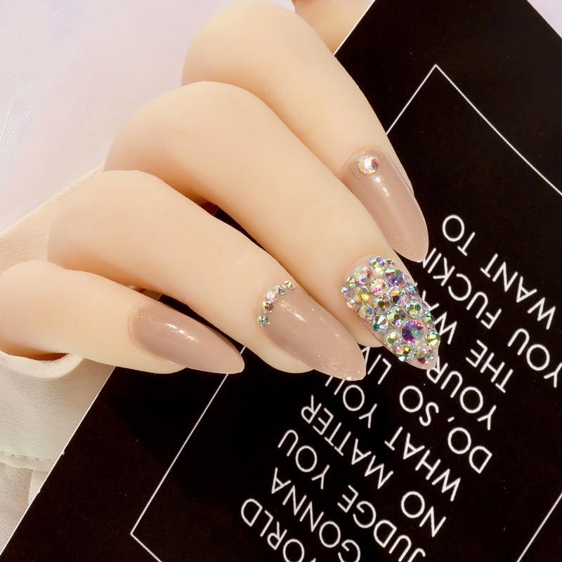 Cool Coffee Press On Nails Bling Ab Crystal Nail Art Fake Nails