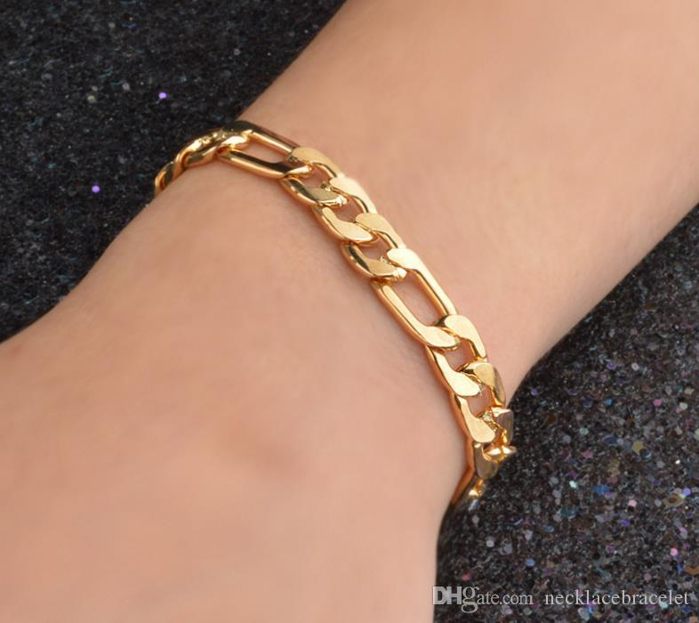 Figaro 8MM bracelet Special offers 18 k gold jewelry Personality cool bracelet men 18k necklace long lasting color preserving allergy