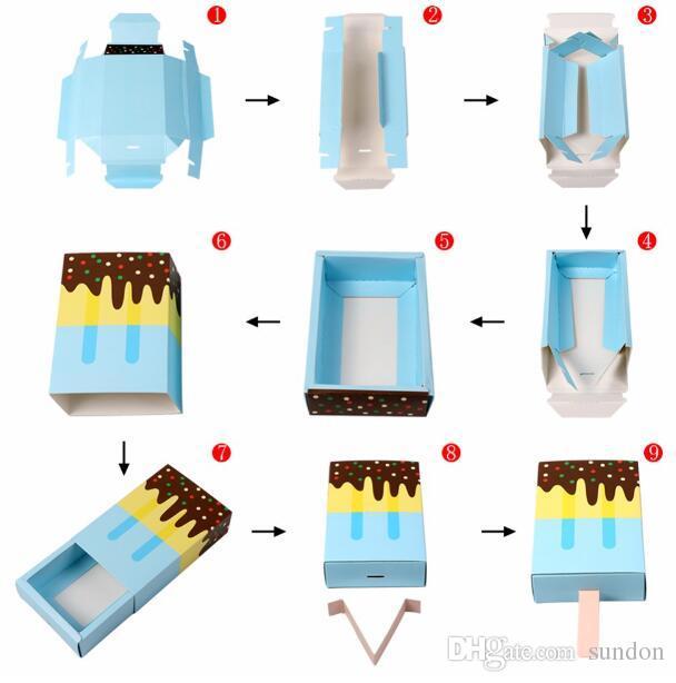 200 adet / grup Dondurma Şekli Sevimli Hediye Kutuları Bebek Duş Doğum Günü Partisi Şeker Kutusu Karikatür Çekmece Hediye Kutusu Çocuklar Için Parti Favor