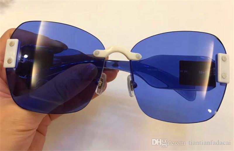 Modo caldo di vendita di moda stile avant-garde designer occhiali da sole donne occhiali preferiti di tendenza colore splicing occhiali frameless di alta qualità