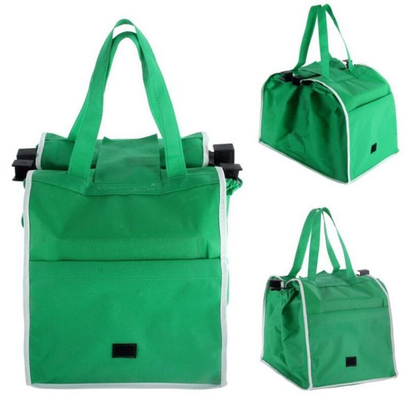 5cdf38067555 2019 Non Woven Shopping Bag Green Foldable Reusable Women Supermarket  Handbag Clip To Cart Grocery Outdoor Bag OPP Bag Package OOA5399 From  Best sports