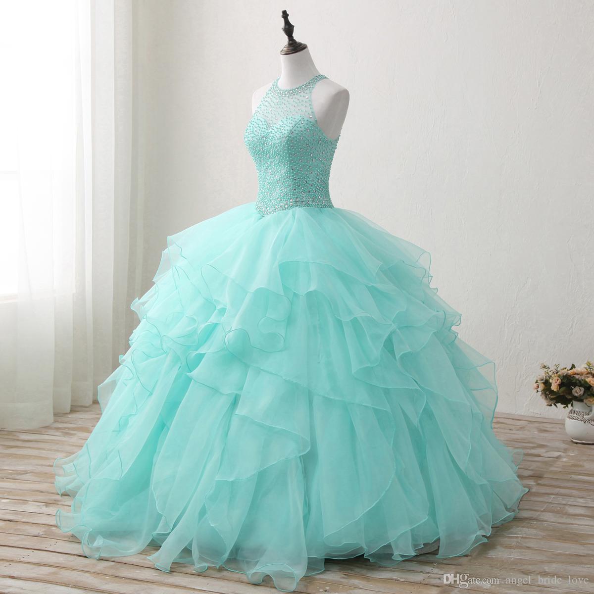 2018 Yeni Yüksek Qullity Nane Yeşil Balo Quinceanera elbise Boncuklu Balo Tatlı 16 Elbise Artı Boyutu Dantel Up Vestido De 15 Ano Q72