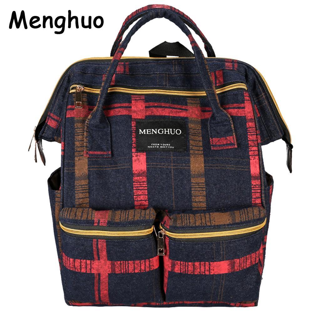 Menghuo Fashion Plaid Women Backpacks Female Denim School Bag For Teenagers  Girls Travel Rucksack Large Space Backpack Sac A Dos Wheeled Backpacks  Leather ... bc7857c7cd27e