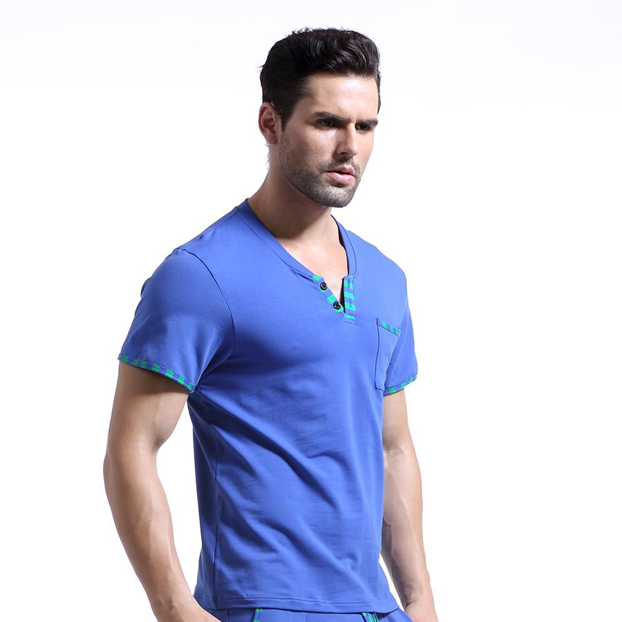 333fc619be 2019 Man Home Leisure Clothes Mens Sexy Cotton Skinny Night Shirts Short  Sleeves Sleeping Tops WJ Brand From Clothfirst