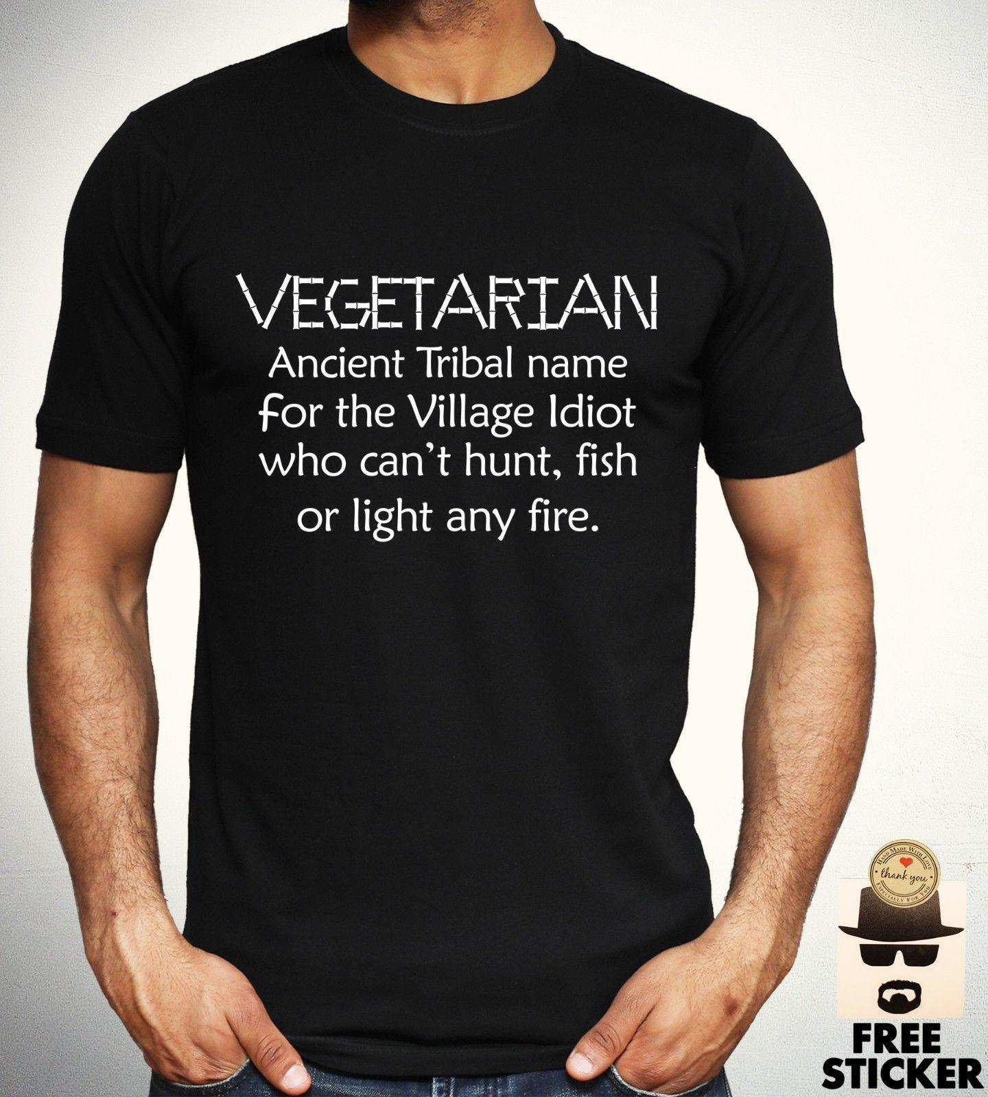 59c5f581 Vegetarian Village Idiot T Shirt Funny Humour Vegan Tee Mens Women Gift Top  S XL Funny Unisex Casual Tee Gift Comical T Shirts T Shirt With From  Tee_spirit, ...