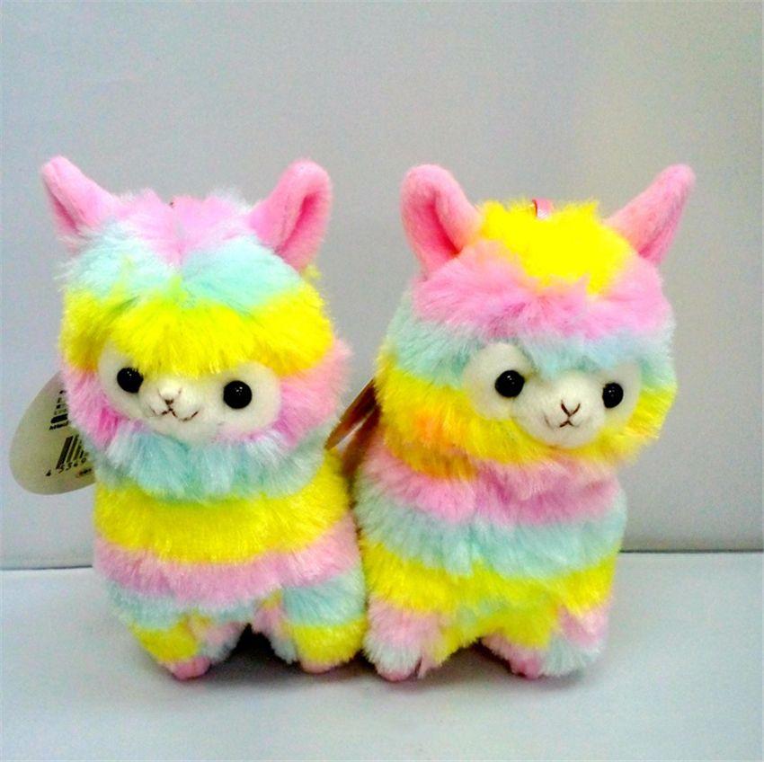 레인보우 알파카 플러시 양 장난감 키 체인 일본식 동물 알파카 소프트 플러시 Alpacasso 아기 플러시 선물 13cm 어린이