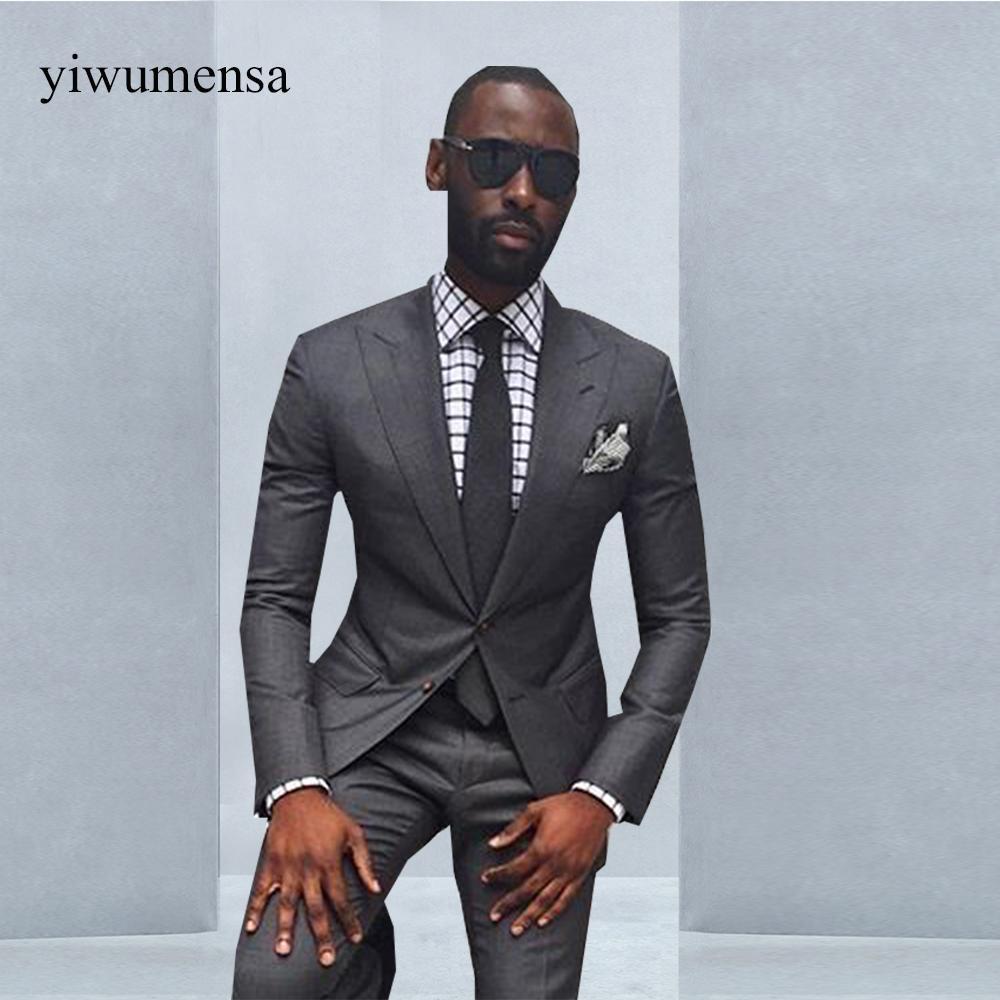 9dcf63616165c Compre Ternos Masculino Slim Fit Trajes De Hombre Para Boda 2018 Two Pieces  Mens Suits Con Pantalones Trajes De Hombre Custom Suit Suit Man A  155.35  Del ...