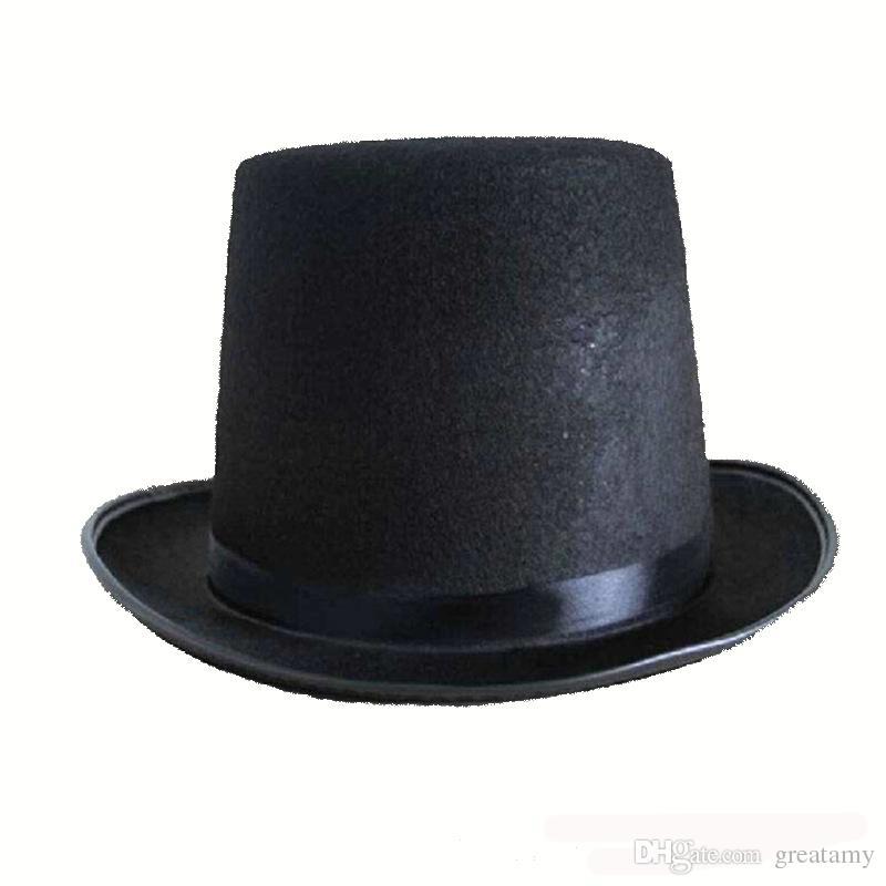c2332b239c69b Compre Sombrero De Halloween Apoyos Gorras De Mago Negro Sombrero Mágico  Sombreros Superiores Gorra Alta Gorra Viste A La Bola De Jazz A  3.0 Del  Greatamy ...