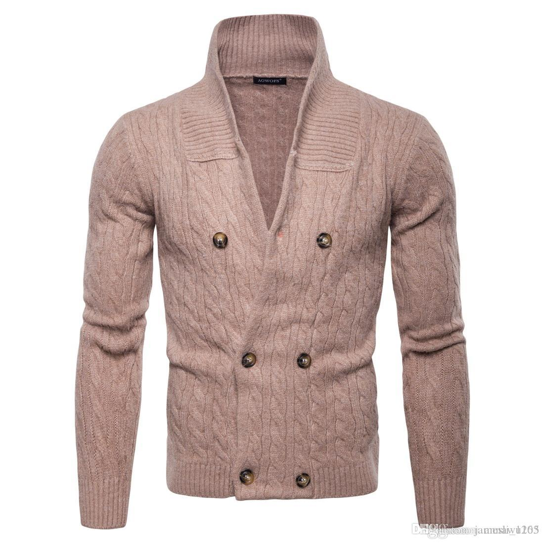e5b7fa6182 2019 New Cardigan Sweater Men  V Neck Double Breasted Sweater With Long  Sleeve High Quality Cotton Blend Knitted Winter Mens Sweater For Sal From  ...