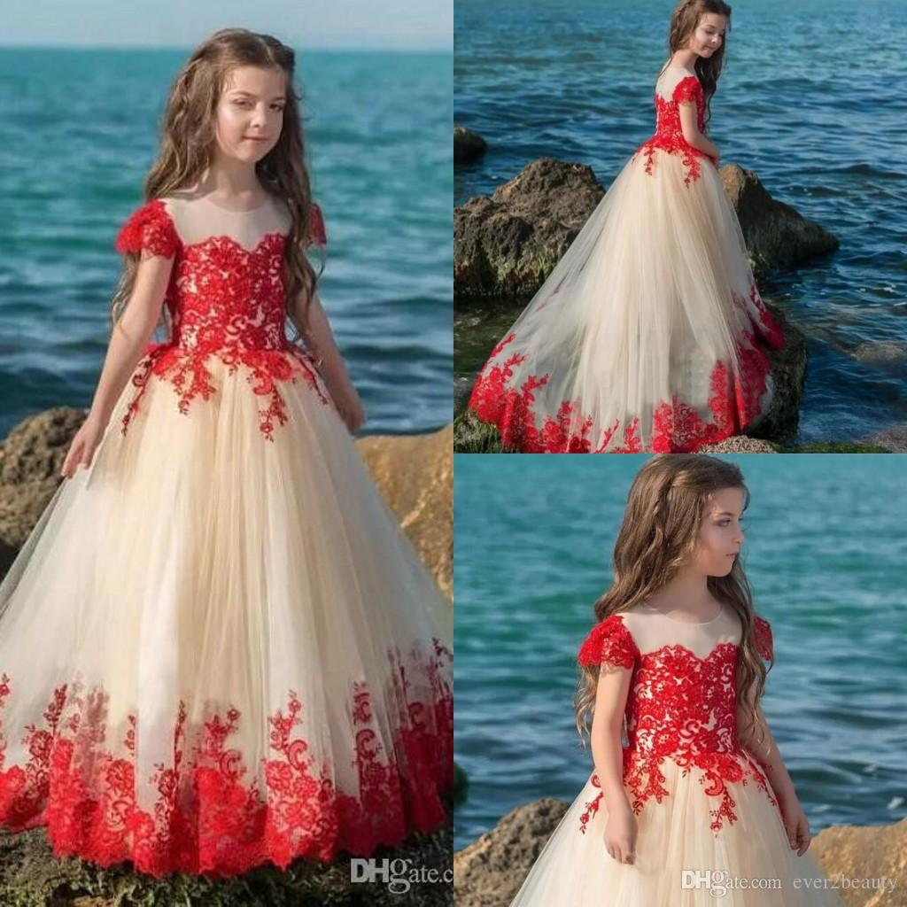 2018 Red Nude Mixed Color Princess Girls Pageant Dresses Sheer Neck ...