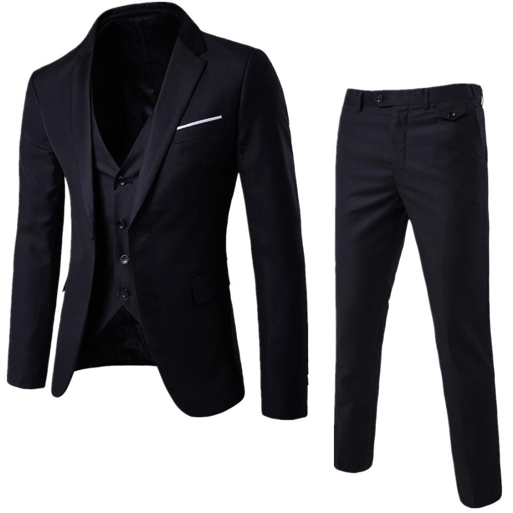 Male Blazers Slim Fit Suits (Jacket+Pant+Vest) Luxury Men Wedding Suit For Men Costume Business Formal Party Blue Classic Black