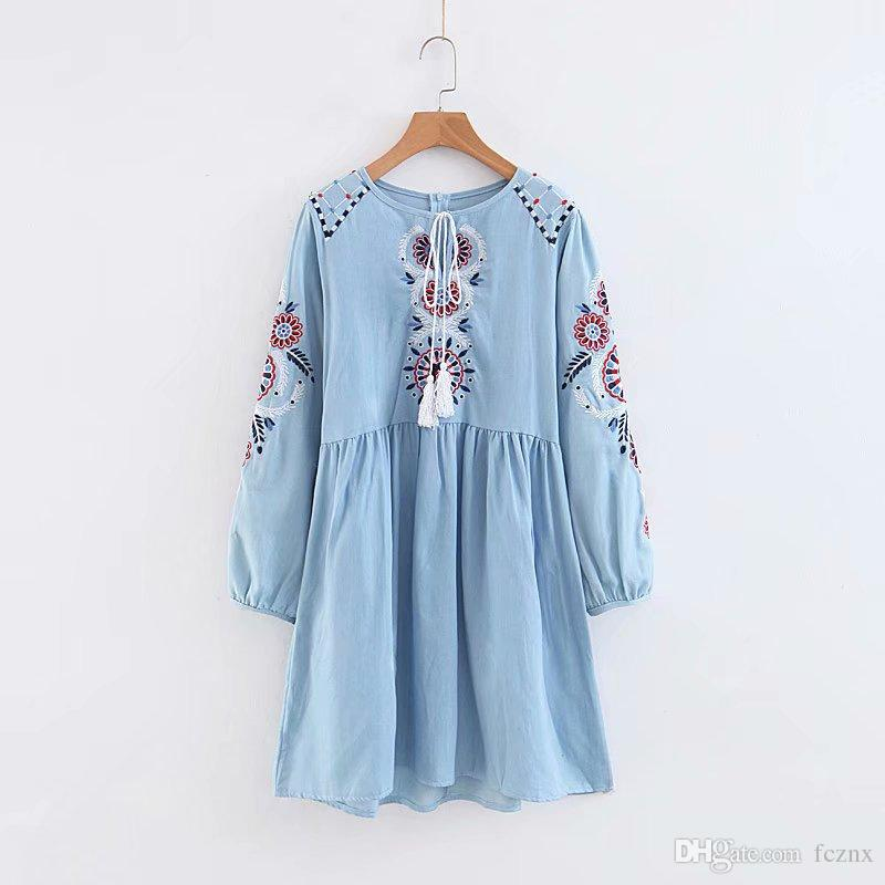 2018 women clothing long sleeve lace up floral embroidery relaxed