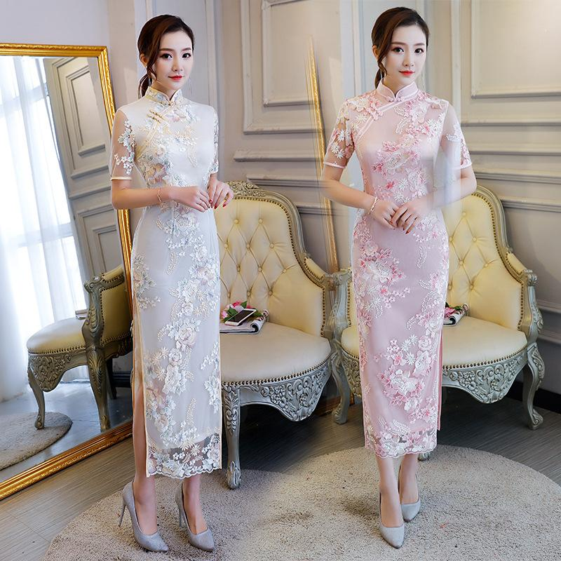 780f303d6 2018 New Style Cheongsam Long Lace Qipao Modern Chinese Dress Mermaid Evening  Gown Traditional Chinoise Qi Pao Formal Dresses