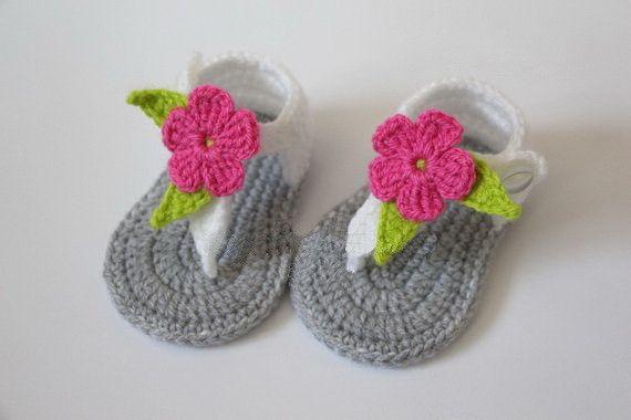 0b8f6315771ea Crochet baby sandals, newborn gladiator sandals,baby girls slippers shoes,  gray, white, flower pink 0-3 months, baby shower gift
