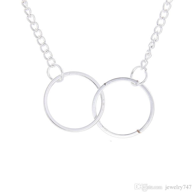 Collar Colgante de dos círculos Armonía Círculos entrelazados Collar delicado con tarjeta de mensaje Collar Colgante de dos círculos Collar de 18