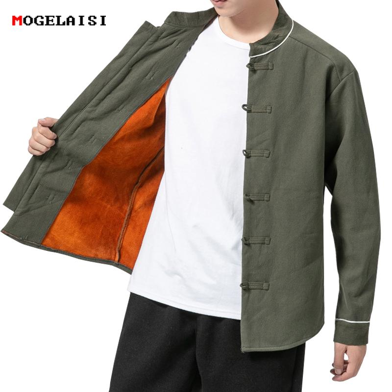Chinese Style Mens Jackets Linen winter jacket fleece Retro Men Coat Buttons Jacket Men Solid Autumn Warm size M-5XL