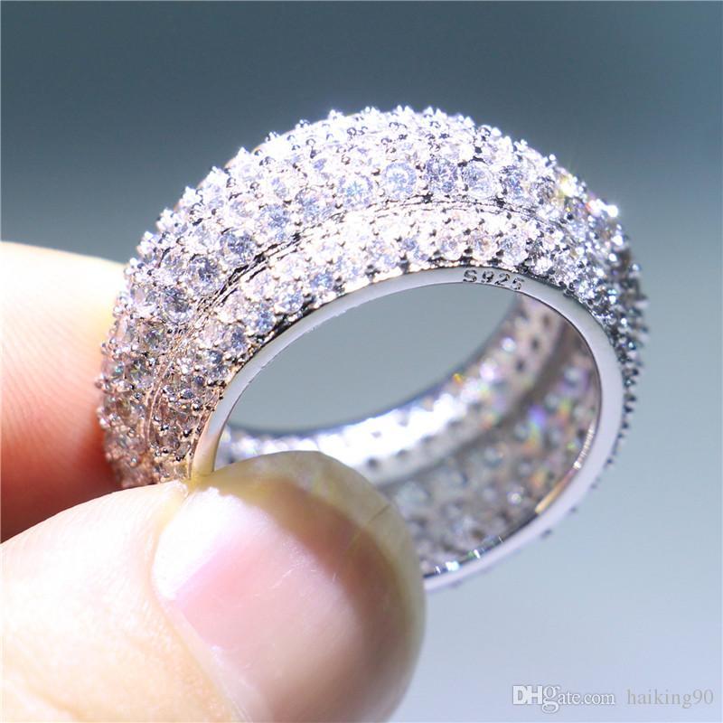 Luxury Women Handmade Wedding Jewelry White Gold Filled Engagement