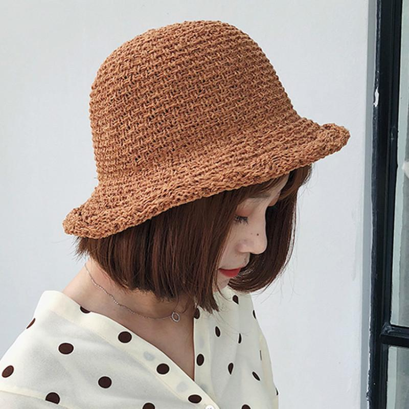 Sunshade Straw Beach Visor Hat Ladies Summer Sunscreen Solid Color Knit  Curling Basin Cap Korea New Wild Youth Sun Chapeau Femme Crazy Hats Fishing  Hat From ... e0d95a46419