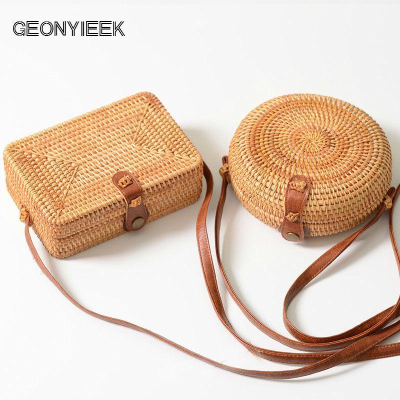 4834cea6f628 GEONYIEEK 2018 New Fashion Round Straw Bag Handbags Women Summer Rattan Bag  Handmade Woven Beach Handbag For Women Bag Y18102003 Online with   49.92 Piece on ...