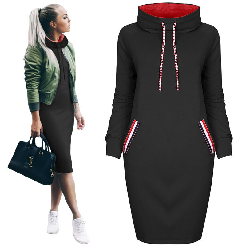 Women Winter Dress 2018 Turtleneck Long Sleeve Knitted Dress with Pockets Ladies Gray Casual Autumn Sweater Dresses Plus Size