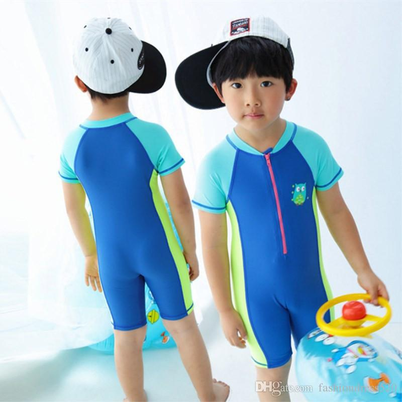 Swimsuit For Baby Boys Grils Cartoon Pattern Beach Sunscreen Clothing Kids Children Swimwear Bathing one piece Swimming Suit with Cap