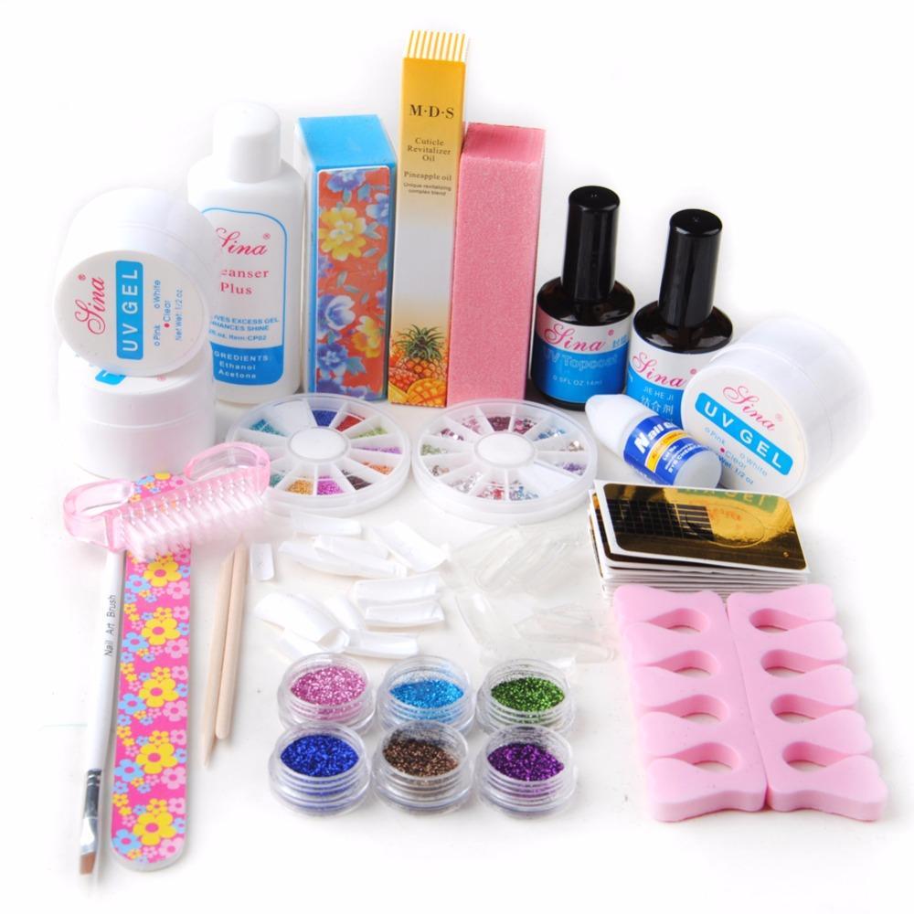 Uv Gel Nail Art Kit Manicure Glitters Rhinestone Glue Topcoat Primer ...