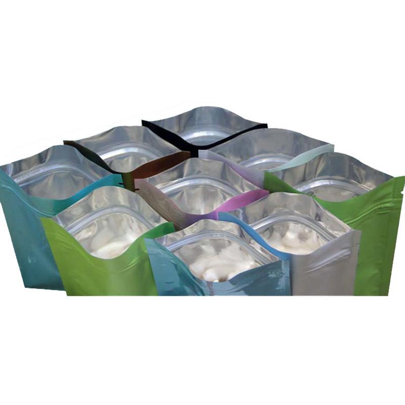 Saco de plástico preto mylar sacos de folha de alumínio com zíper para armazenamento de alimentos a longo prazo e collectibles proteção dois lado colorido